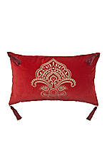 Paxton Red Embroidered with Tassels Decorative Pillow 12-in. x 20-in.