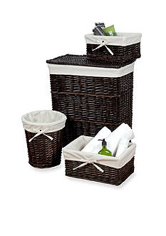 Creative Bath Walnut Brown Willow 4-Piece Wickerworks Hamper and Storage Set