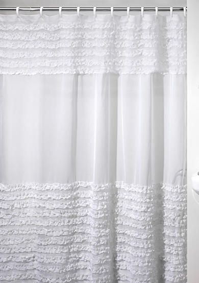 Creative Bath Ruffles Shower Curtain and Shower Curtain Hooks