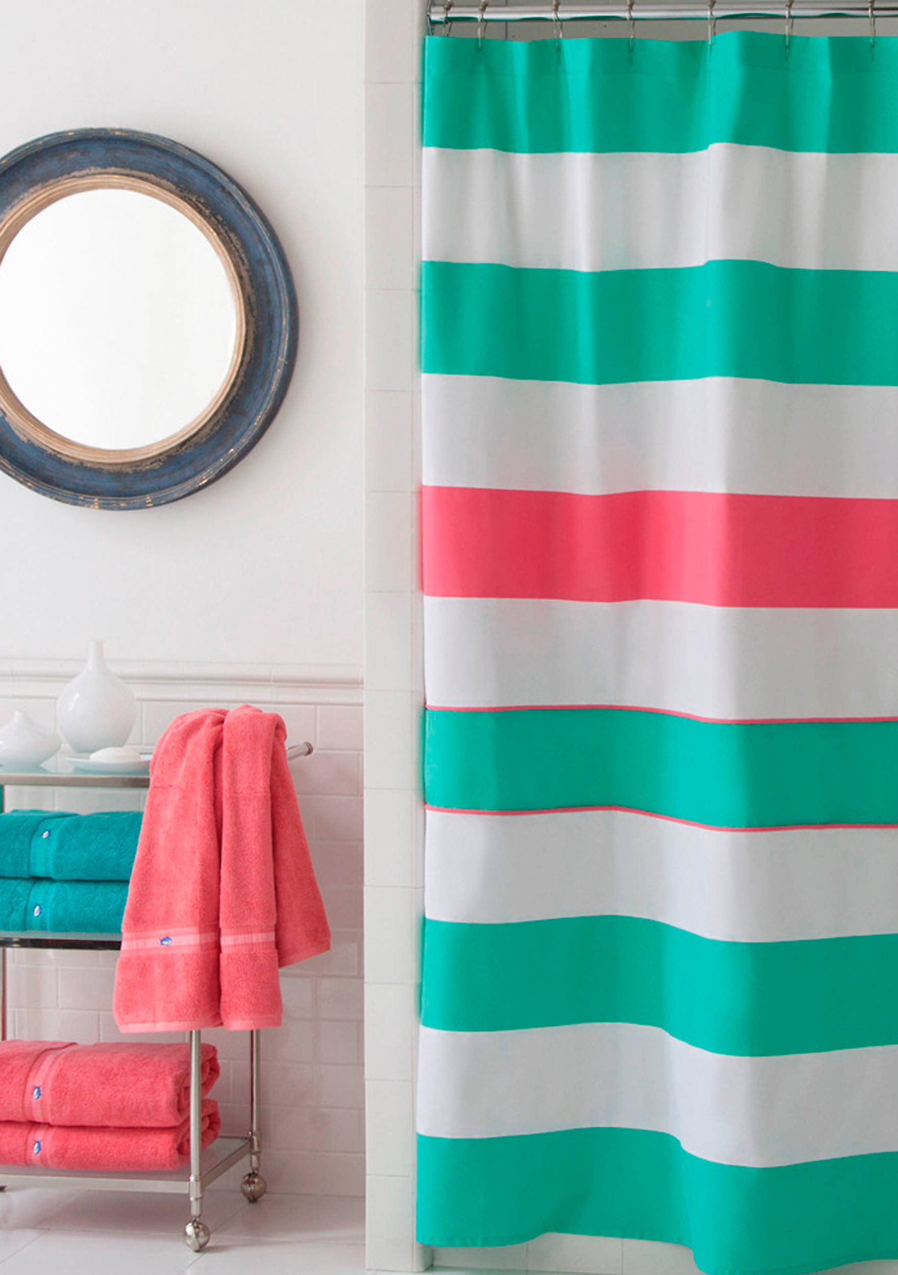 teal green shower curtain. Images Cabana Stripe Shower Curtain  belk