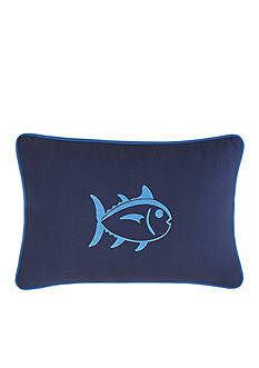 Southern Tide DOCK STREET STRIPE NAVY W/RIBBON PILLOW