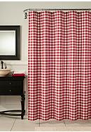 m.style Classic Check Barn Red Shower Curtain