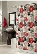 m.style Full Bloom Red Shower Curtain