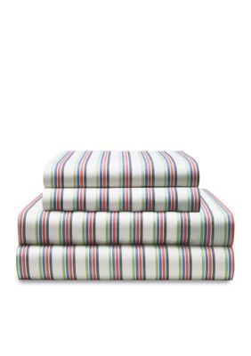 Tommy Hilfiger  Matanzas Stripe King Sheet Set 78-in. x 80-in. x 15-in. Fitted -  9200633042191TH003