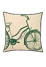 Green Bicycle Decorative Pillow 18-in. x 18-in.