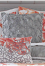 Golden Peony Heavily Ruffled Decorative Pillow 18-in. x 18-in.