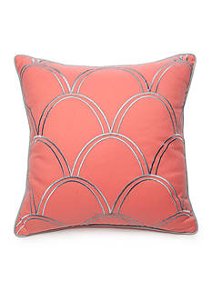 New Directions Ava Square Coral Embroidered Scalloped Decorative Pillow