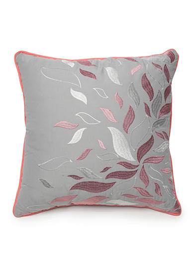 New Directions® Ava Square Gray Embroidered Leaves Decorative Pillow