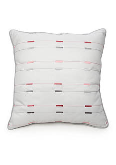 New Directions® Ava Square White Embroidered Dash Decorative Pillow