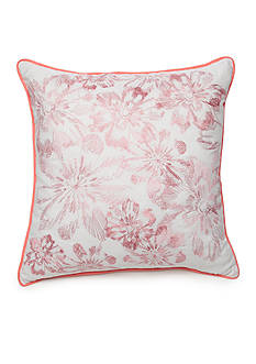 New Directions Ava Square White Embroidered Floral Decorative Pillow