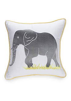 New Directions Logan Square Embroidered Elephant Decorative Pillow