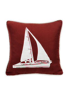 HiEnd Accents Sailboat Embroidery Pillow