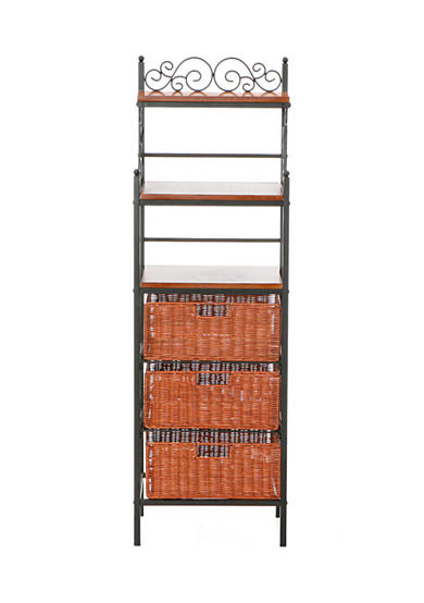 Southern Enterprises Culpeper 3-Drawer Rattan Bakers Rack