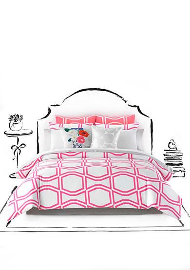 kate spade new york bow tile shocking pink comforter set belk. Black Bedroom Furniture Sets. Home Design Ideas
