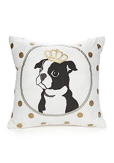 Best in Class Embroidered Boston Terrier Metallic Dot Decorative Pillow