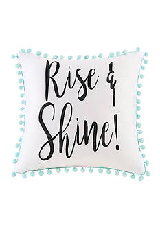Back to Class Embroidered Rise And Shine Decorative Pillow