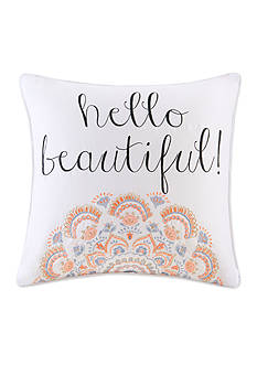 Back to Class Embroidered Hello Beautiful Decorative Pillow