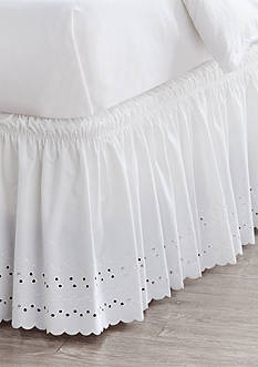 Home Accents® Queen/King White Eyelet Bedskirt with Dual Fit Technology