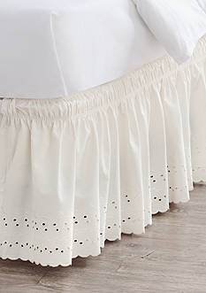 Home Accents® Twin/TwinXL/Full Ivory Eyelet Bedskirt with Dual Fit Technology