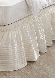 Home Accents® Ivory Pintuck Bedskirt with Dual Fit Technology