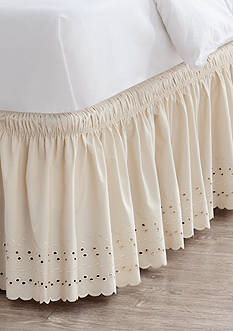 Home Accents® Linen Eyelet Bedskirt with Dual Fit Technology