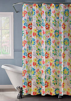 Dainty Home Lurex Flower Bouquet Shower Curtain