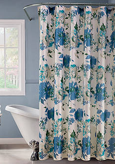 Dainty Home Lurex Watercolor Floral Shower Curtain