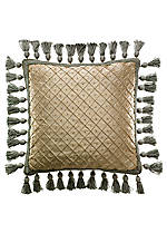 Opal Gold Lattice Pearl with Tassel Trim Fashion Pillow 16-in. x 16-in.