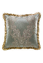 Opal Capri Blue Jacquard Scroll Print with Ruffle Trim Square Decorative Pillow 18-in. x 18-in.