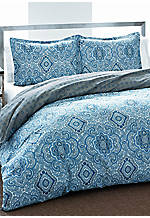 Milan Blue Twin Duvet Set 88-in. x 68-in.