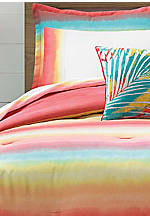 Electric Beach Coral Red Full Sheet Set - Fitted 75-in. x 54-in. + 12-in. Pocket