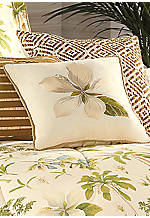 Catesby Palms Natural Floral Embroidered Square Decorative Pillow 14-in. x 14-in.
