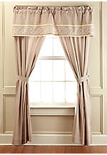 Lancaster Taupe Embroidered Tailored Valance 66-in. x 18-in.