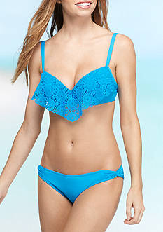 Lacey Atmosphere Aura Lace Ruffle Bra Swim Top and Master Classics Skirted Swim Bottom Collection