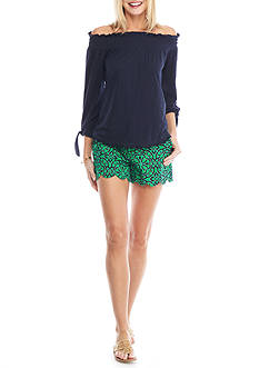 Crown & Ivy™ Solid Knit Tie Sleeve Top and Scallop Short