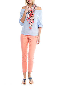 Crown & Ivy™ Stripe Woven Top, Solid Stretch Denim, and Elephant Medallion Print Scarf