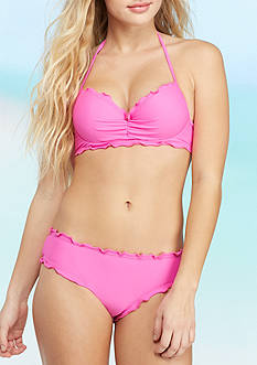 50/50 Ruffled Underwire Push Up Bra Swim Top and Solid Scalloped Hipster Collection