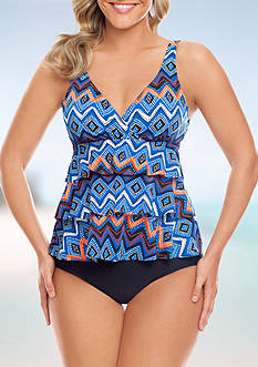 Zig To The Zag Triple Tier Tankini Swim Top and  High Waist Swim Bottom Collection