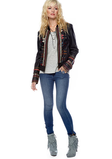 Free People Embroidered Vegan Leather Jacket, Denim Ankle Skinny &  Tee Time Sweater