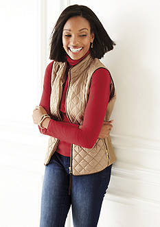 Rafaella Quilted Vest, Solid Turtleneck & Straight Leg Jean Collection