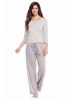 ND® Intimates Stripe Henley & Solid Marble Pants