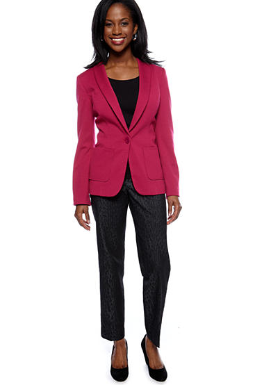 New Directions® New Directions Solid Blazer with Striped Lining and Animal Print Denim Pants