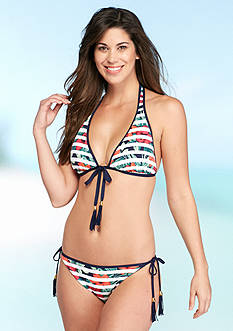 Tommy Bahama Show Your Stripes Reversible Halter Cup Bra and String Bikini Collection