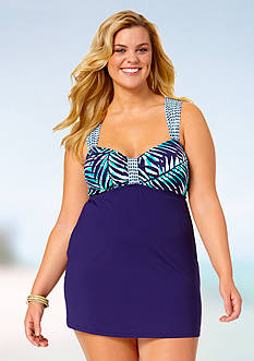 Anne Cole Signature® Plus Size Best Fronds Forever Over The Shoulder Swim Dress