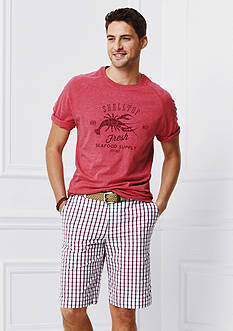 IZOD Lobster Printed Graphic Tee & Portsmith Plaid Shorts