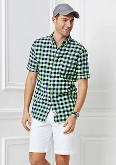 IZOD Short Sleeve Dockside Chambray Gingham Shirt & Saltwater Flat Front Twill Shorts