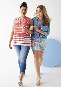 crown & ivy™ Plus Size Ombre Stripe Top, Classic Chambray Shirt, Eyelet Trim Tee, Denim Capri & Under the Sea Short