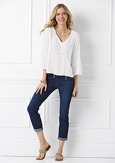 Jessica Simpson Solid Tabitha Peasant Top & Forever Roll Skinny Jeans