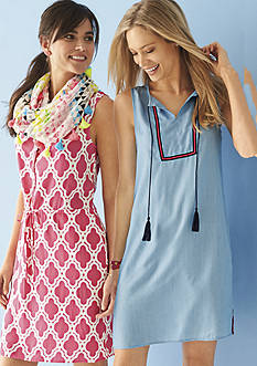 crown & ivy™ Printed Sleeveless Button Front Drawstring Dress, Chambray Shift Dress & crown & ivy™ beach Triangle Tassel Infinity Scarf