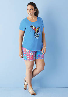 crown & ivy™ Plus Size Hummingbird Embroidered Swing Tee & Plus Size Woven Link Short